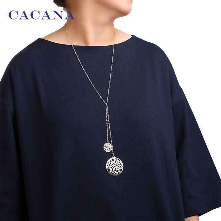 CACANA Hollow round one big and one small pendant necklaces 2 colors women chokers necklaces wholesale jewelry bijouterie N5