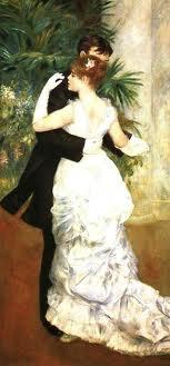 <르누아르_도시에서의 춤> 시골에서의 춤과 나란히 전시되어 있는 이 작품은 도시의 어느 무도회에서 한 남녀가 춤을 추고 있는 모습을 그린 작품이다. 여인이 입은 새하얀 드레스는 르누아르의 다른 작품 '산책'을 떠올리게 만든다. 남자와 여자가 세련된 옷을 입고 춤을 추고 있다. 뭔가 설레기도 하면서 조심스럽게 춤을 추고 있는 여인의 감정이 잘 녹아있다.
