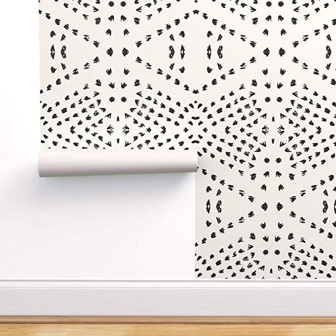 Spoonflower Pre Pasted Removable Wallpaper Tribal Boho Gestural Lines Black Beige Dot Bohemian Geometric Boho Tiles Bohemian Wallpaper Dots Wallpaper