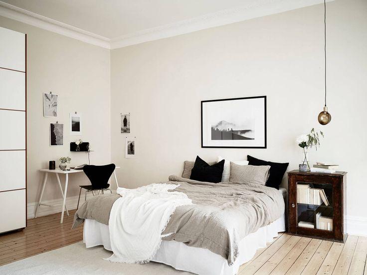 Light Scandinavian bedroom with workspace