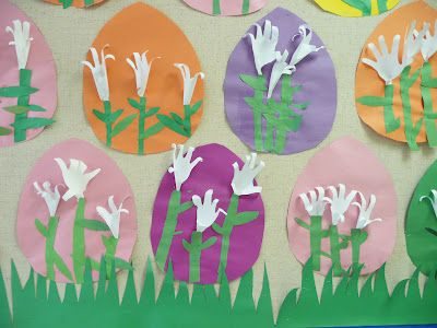 DIY paper Easter lilies made from child's handprint!  This would make a cute card too.