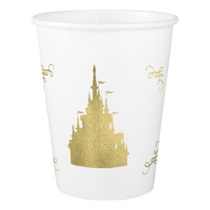 Gold Foil Princess Flag Castle Storybook Party Paper Cup - baby birthday sweet gift idea special customize personalize