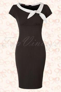 Hulahup - 50s Polka Bow Pencil Dress in Black