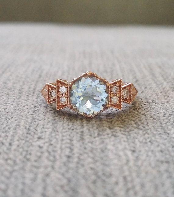 Antiguo diamante aguamarina anillo de compromiso por PenelliBelle