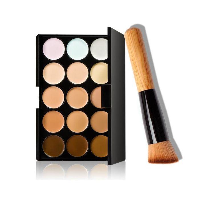 Cara profesional básica fundación del maquillaje 15 Colores de Maquillaje Corrector Contorno Pincel de Maquillaje Paleta + 1 UNID jan10