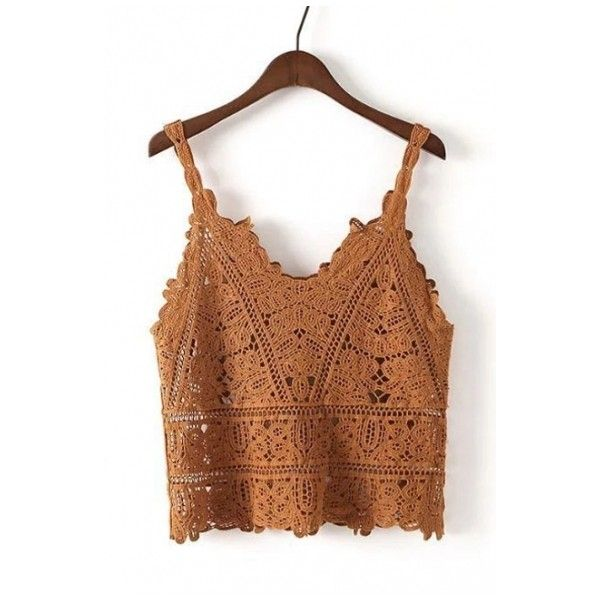 New Fashion V-Neck Spaghetti Straps Hollow Out Crochet Cami Top ($23) ❤ liked on Polyvore featuring tops, brown camisole, cami top, v neck tank top, spaghetti strap tank and crochet tank