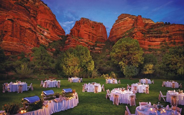Enchantment Resort. Outdoor wedding reception at Sedona resort venue.