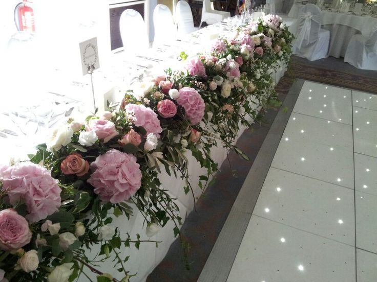 Top Table Flowers   Pink And White Wedding Flowers
