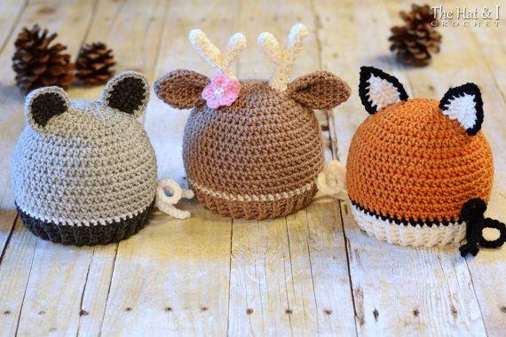 Crochet Baby Hats CROCHET PATTERN - Forest Friends - raccoon, deer, and fox ha...