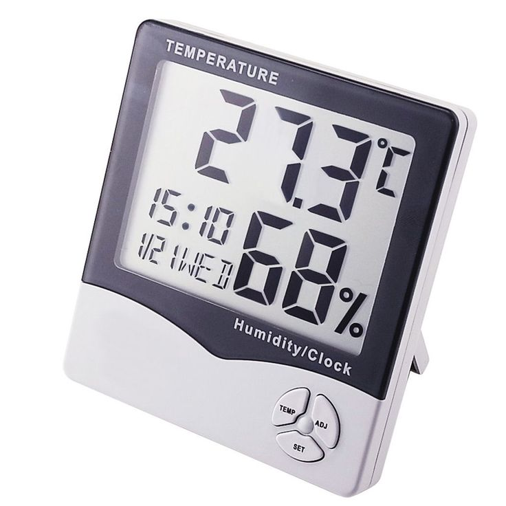 IR-807 Digital Hygrometer Temperature Humidity Meter LCD Clock