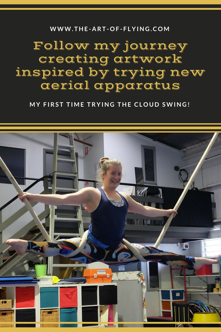 Follow my journey creating artwork inspired by trying new aerial apparatus. This picture shows my first time trying the cloud swing after predominantly using aerial silks, lyra/aerial hoop and trapeze.