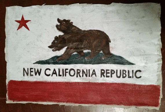 Hand-painted New California Republic Flag from by Mothstradamus