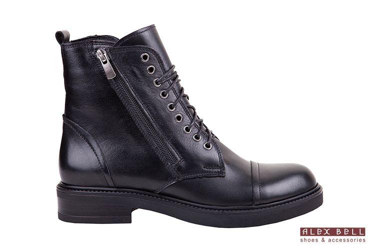черные женские осенние ботинки кожаные осень 2017