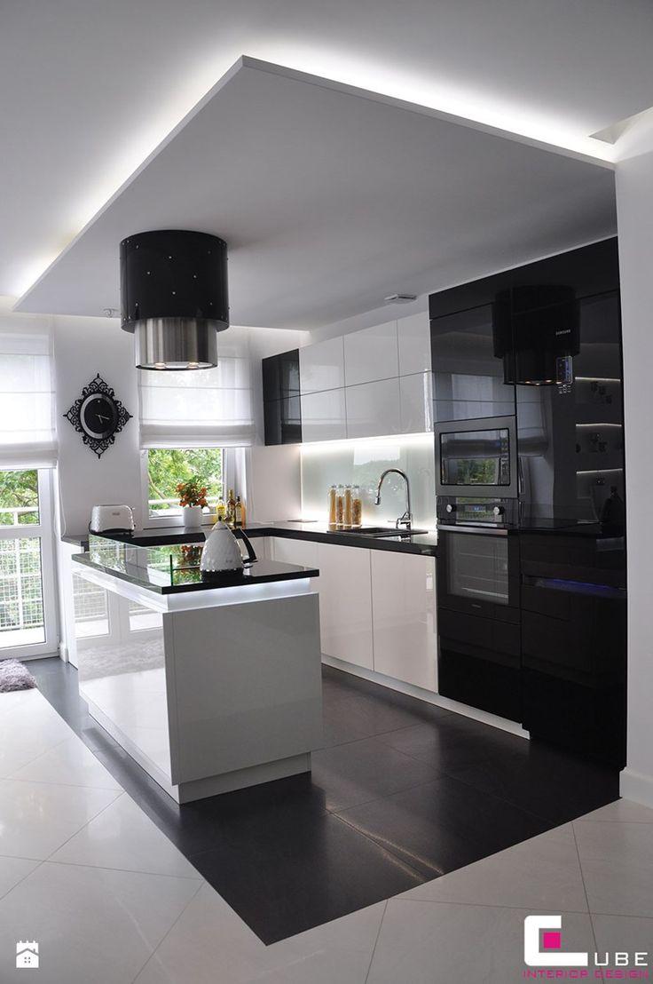Mieszkanie Białołęka, Warszawa - Średnia otwarta kuchnia w kształcie litery l z wyspą, styl glamour - zdjęcie od CUBE Interior Design