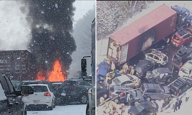 Pile-up involving up to 100 cars shuts down New Hampshire interstate as snow squall causes chaos on the roads