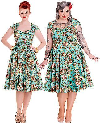 HELL BUNNY SASHA DRESS BLUE TURQUOISE GREEN SUGAR SKULL 8-22 PLUS SIZE TATTOO