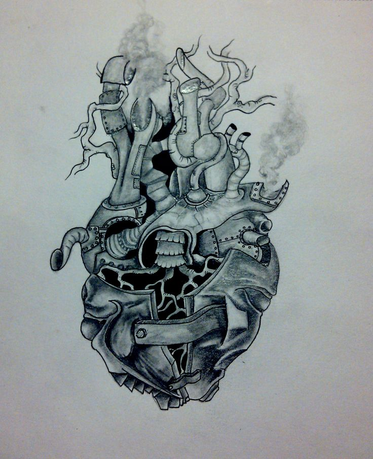 Live Life With No Regrets Tattoo Sketches Drawing Art: Steampunk Heart Tattoo Flash Art ~A.R.