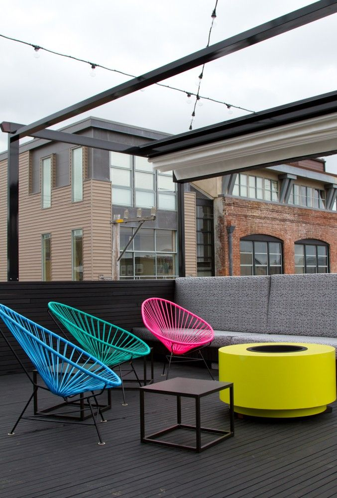 Day Glo rooftop space/fire pitFire Pits, Modern Chairs, Roof Decks, Rooftop Terrace, Acapulco Chairs, Roofdeck, Neon Colors, Rooftops Terraces, Offices Pictures