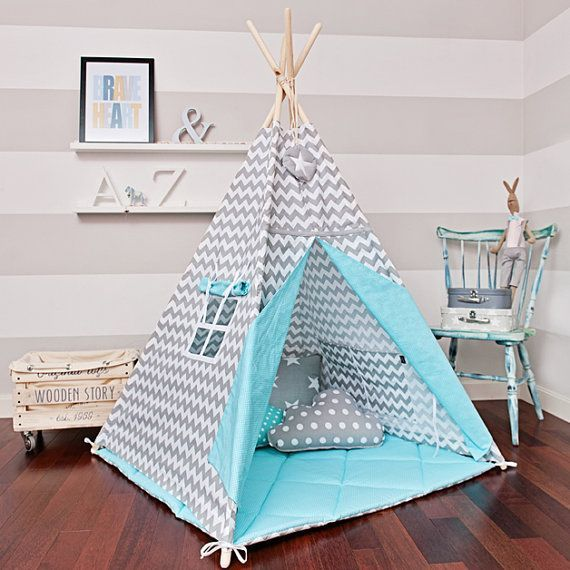 Large Set of Teepee Kids Play Tent Tipi -  Magic Turquoise