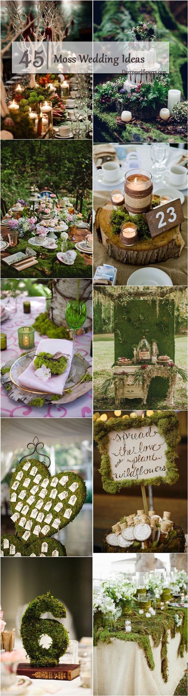 rustic moss wedding ideas / http://www.deerpearlflowers.com/moss-decor-ideas-for-a-nature-wedding/3/