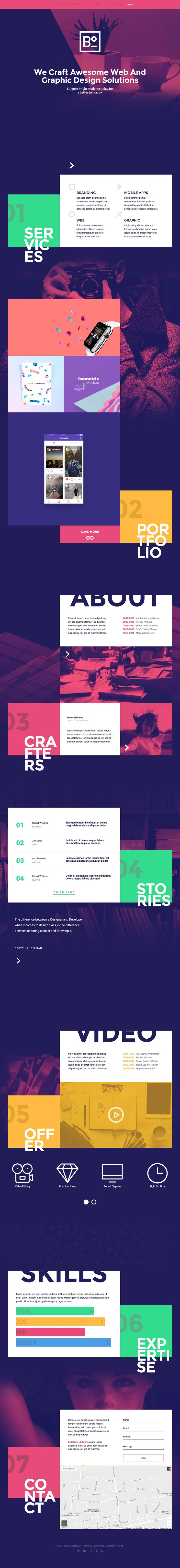 'Boxus' is unique, colorful One Page HTML template suited for a slick personal or digital agency portfolio. The design really is refreshing for a template with fancy scrolling sections and big typography. Features include image gallery, animated skills graph, preloader, contact form and Google Maps.