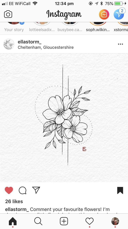 Wunderschönes florales Tattoo von • Ella • ,  #florales #tattoo #wunderscho…