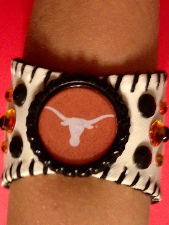 UT Longhorns baseball bracelet by LeagueOfOurOwn on Etsy, $25.00
