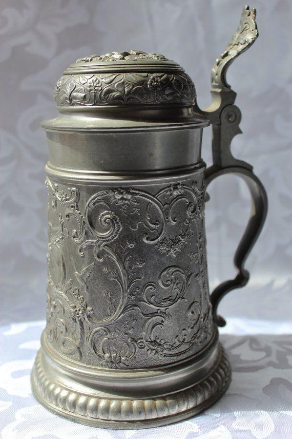 Antique German Pewter Beer Stein by losttreasures2u on Etsy, $89.99