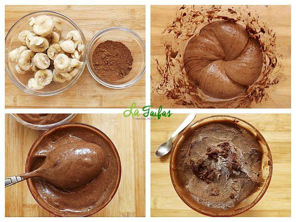 Ce se întâmplă când amestecăm banane și cacao în blender? Obținem o înghețată de ciocolată naturală. Această înghețată atrage curiozitatea prin mai multe elemente. În primul rând, este 100% vegetală. În al doilea rând, se prepară foarte repede.
