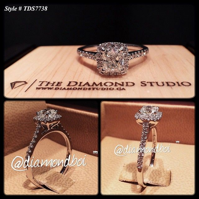 This client has been married for many years and she never got an engagement ring. The time finally has arrived that they were able to get her, her dream ring. This amazing design was made with a .60ct cushion cut. The cushion sits on a tight Italian pave halo. The thin shank is also done in an Italian pave setting. #diamond #diamonds #wedding #Weddings #engagement #ring #rings #bride #brides #jewellery #jewelry #halo #diamondboi