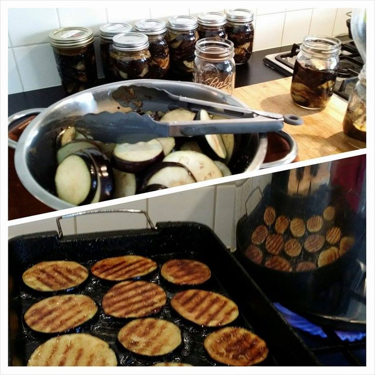 pan fried eggplants, lightly salted then preserved using vegetable oil.