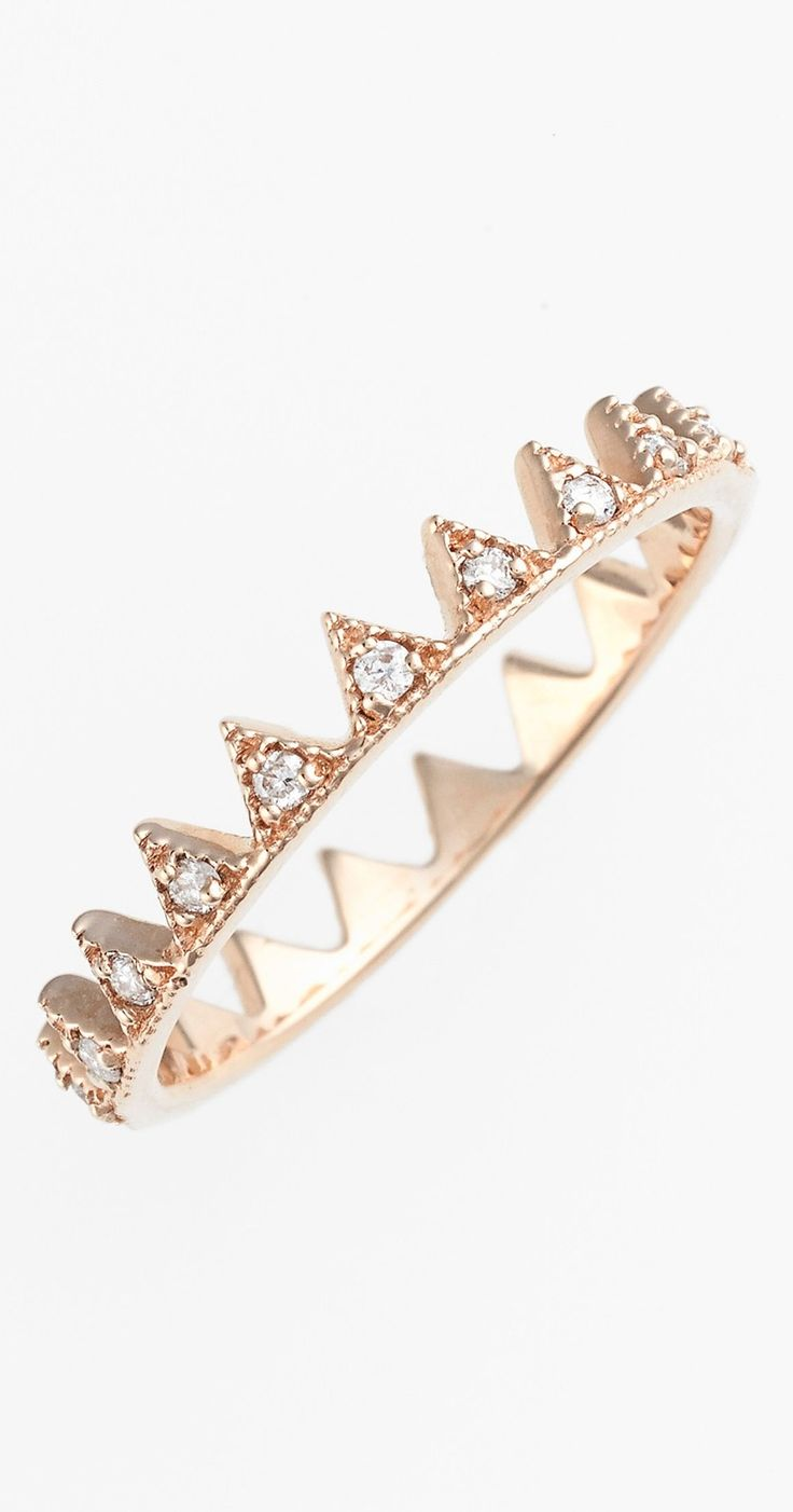 Diamond rose gold crown ring. So delicate and pretty.