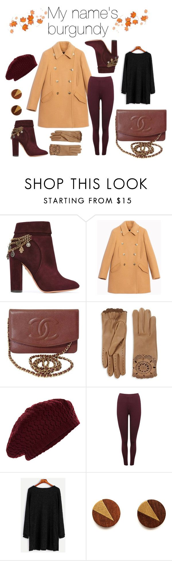my name's burgundy by ann1714 on Polyvore featuring moda, Max&Co., M&Co, Aquazzura, Chanel, Burberry and Accessorize
