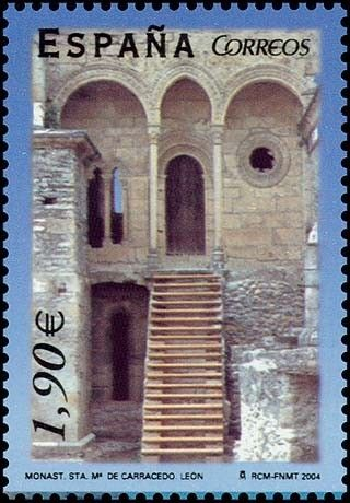 Monastery of Saint Mary of Carracedo, Leon. Spanish post stamp, issued circa 2004.