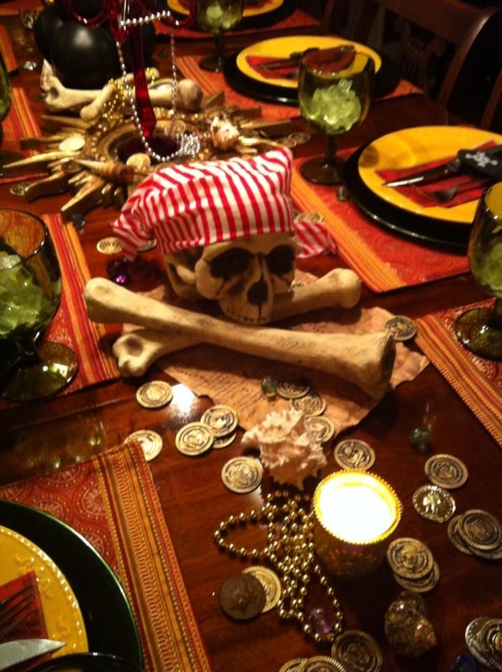 Pirate party table decor pirate theme pinterest for Adult birthday decoration