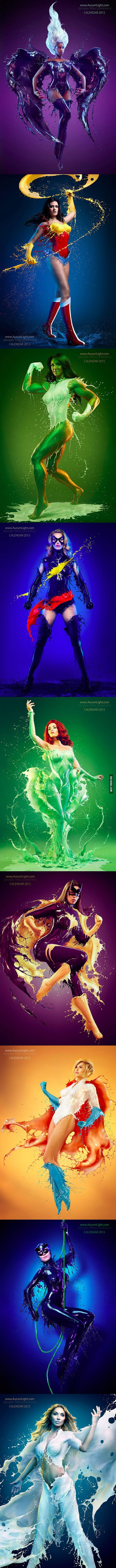Superheroines with liquid versions of their suits: