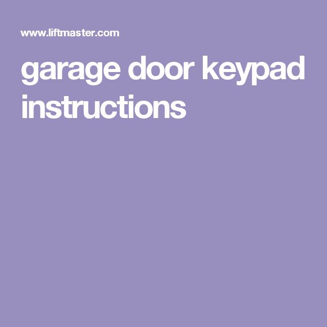 garage door keypad instructions