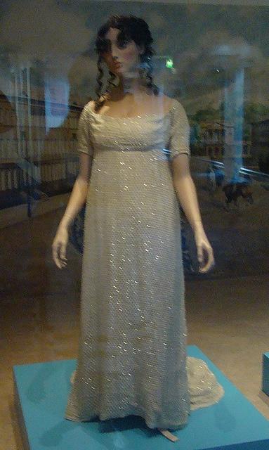 Beaded [!] evening dress, c. 1805-6. Bath Costume Museum