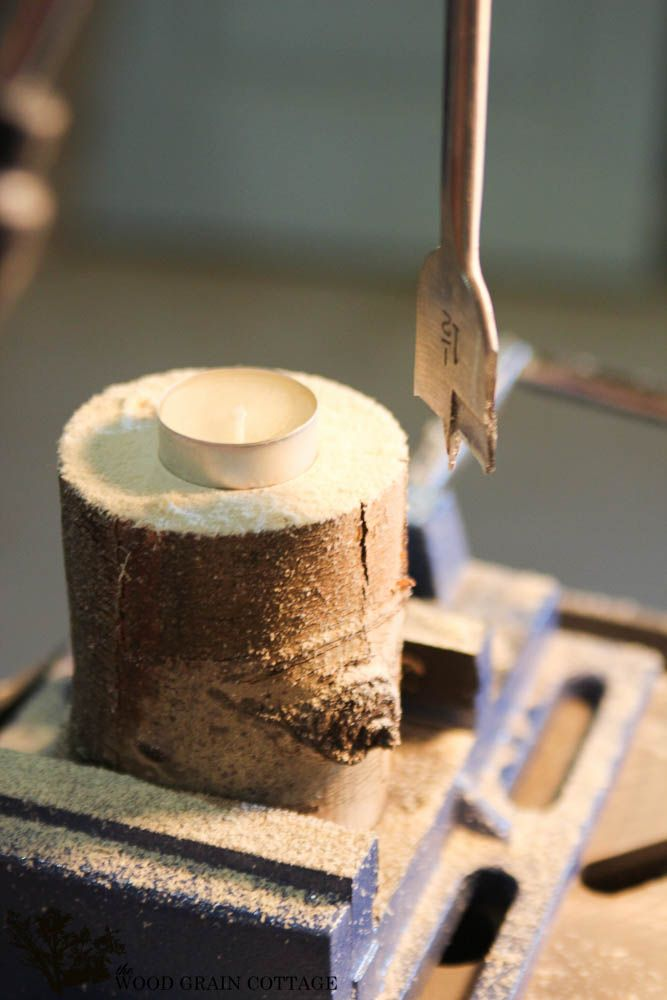 DIY Rustic Tea Light Holder by The Wood Grain Cottage