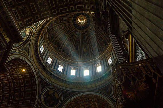Lichtspiele im Petersdom Rom  Wandbild auf Forexplatte 60 x
