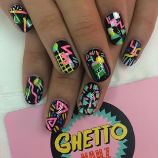 Rewind time, and channel the '80s with some neon print nail art. | 21 Manicures That Will Take Your Formal Look To The Next Level
