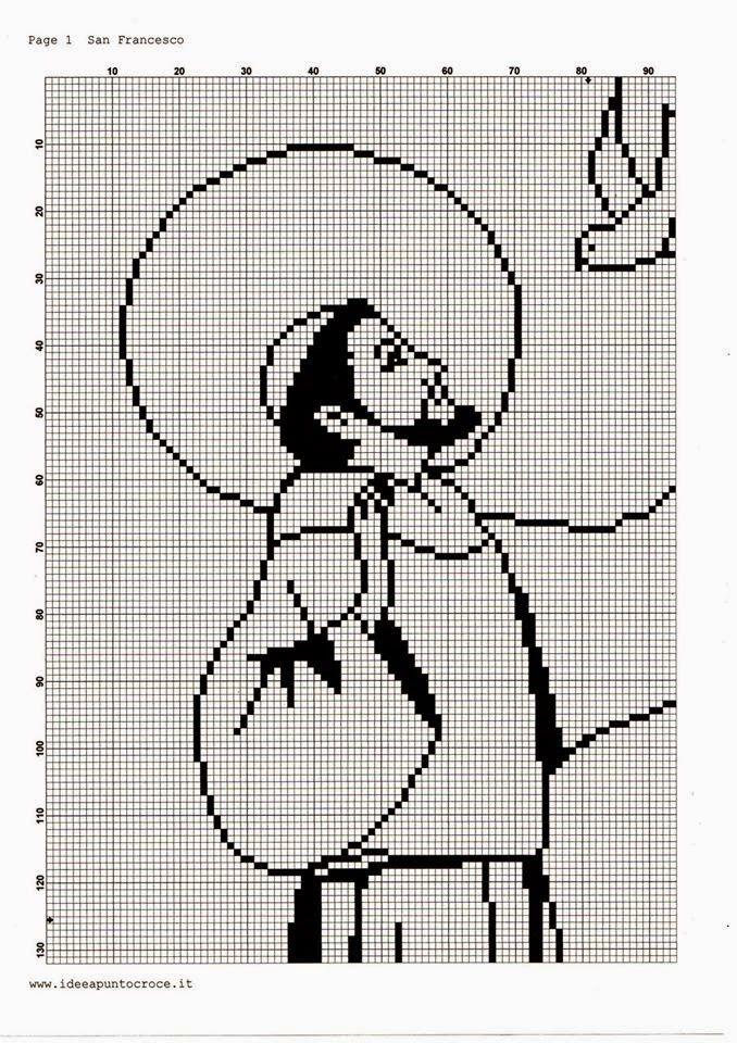 Hobby lavori femminili - ricamo - uncinetto - maglia: san francesco punto croce filet