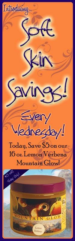 Lemon Verbena Mountain Glow Mineral Salt Scrub on sale today! Save $ 5!!