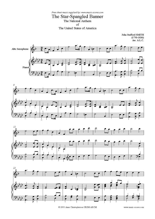 Alto Sax Easy Songs | ... Banner: Alto Sax sheet music by John Stafford Smith: Alto Sax