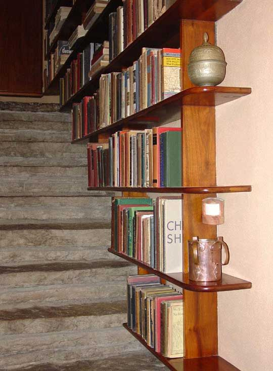 Never enough room for books! - Staircase bookshelves - cool idea