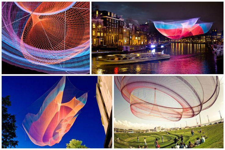 """Американская художница Джанет Эчельман создает гигантские воздушные скульптуры-""""медузы"""" из сетей"""
