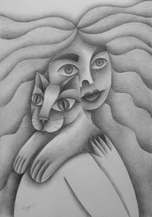 Chica con gato. Lápiz de grafito Conéctate con tus emociones y sentimientos a través del arte.   Connect with your emotions and feelings through art.. #ilustración #arte #art
