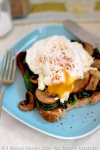 Poached eggs, spinach, Boursin & mushrooms on toast - Cooksister | Food, Travel, Photography
