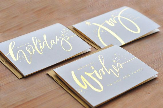 6 Pack Assorted Gold Folie Kalligraphie KartenSet von JulieSongInk, $16.00 via PaperCrave