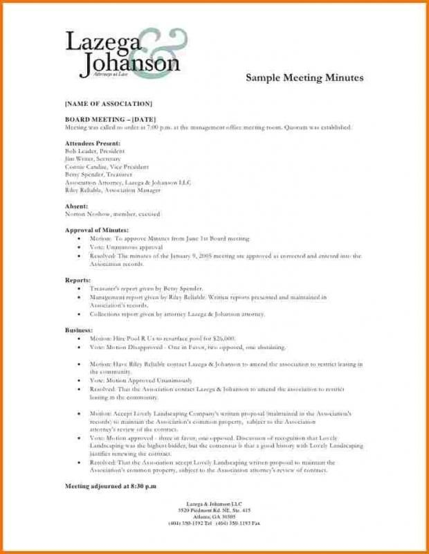 Meeting Minutes Example Letter Format Sample Meeting Notes